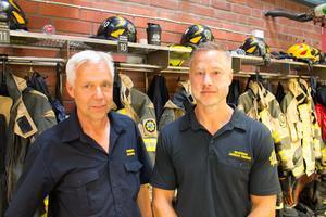 Jan Lindberg och Andreas Fernros på räddningstjänsten i Sala.