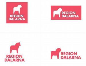 Så här vill landstingets ledning att den nya regionens logotyp ska se ut. Landstingsfullmäktige avgör saken den 23 april. Illustration: Landstinget Dalarna