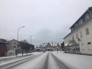 Så här såg det ut i Vansbro under fredagsmorgonen.