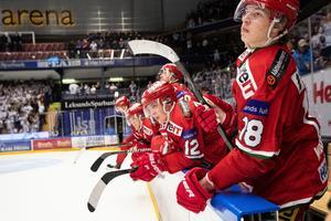 Lukas Wernblom är nöjd med sin säsong så här långt, men var bänkad senast och ser inte ut att spela mot Leksand heller. Bild: Daniel Eriksson/Bildbyrån