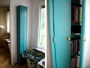 Det gröna skåpet har Birgittas son Petter gjort åt henne för att förvara hennes cd-skivor.