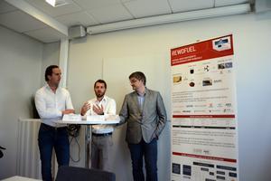 Maarten van Dijk, VD SkyNRG, Jean-Baptiste Barbaroux, projektkoordinator Rewofuel och Jonas Markusson, Innovations- och produktutvecklingsansvarig SEKAB