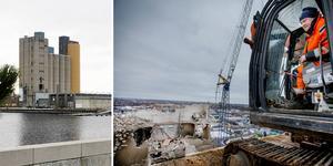 Jonas Persson från rivningsföretaget Delete, 45 meter över marken på taket av silon på Aspholmen i Örebro. Senast juni 2022 ska silon på Alderholmen vara jämnad med marken. Ett arbete som kostar åtskilliga miljoner.