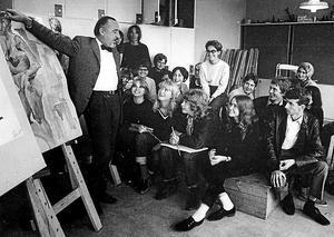 Lektion vid Västerås Konstskola under 60-talet.