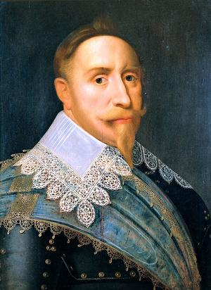 Gustav II Adolf 1624. Målningens konstnär är sannolikt Jacob Hoefnagel.