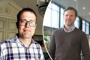 Patrik Stenvard,M, kommunstyrelsens ordförande i Gävle kommun och Johan Cahling, direktör för hållbarhet och varumärkesutveckling, i Brynäs IF.