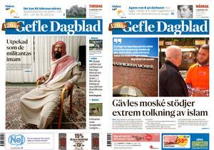 Två av förstasidorna under Gefle Dagblads granskning 2015.
