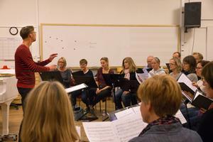 Södertälje kammarkör repeterar under dirigent Jacob Mølgaard Laustsens ledning.