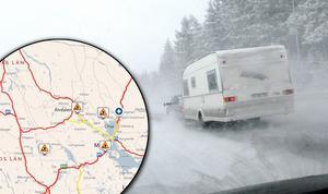 Fotomontage: Mikael Hellsten.Foto: TT Nyhetsbyrån/ Johan Nilsson.Varning för besvärligt väglag  i länet