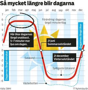 Grafen visar hur mycket längre dagarna blir efter vintersolståndet. Grafik: TT.