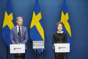 Kulturutskottets ordförande Christer Nylander (L) och kultur- och idrottsminister Amanda Lind (MP). Bild: Nils Petter Nilsson/TT