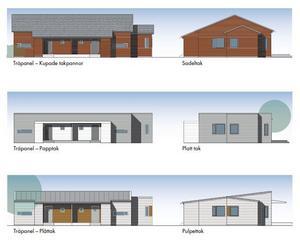 Så här ser tre av förslagen ut till de enplans parhus som kan bli aktuella som seniorboenden i Järna.                                                                                                        Bild: Sveriges Allmännytta / Götenehus