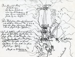 När överste Baltzar von Dahlheim skissade på den här försvarsplanen över Stäket i Stockholms skärgård, den 19 juli 1719, var ryssarna redan i våra trakter på Södertörn. Slaget vid Stäket skedde sedan den 13 augusti. Foto: Krigsarkivet