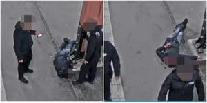 Efter att ha slagits medvetslös fotar 18-åringen med sin mobilkamera.