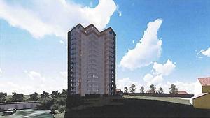 Planerna på 15-våningshuset kanske väcks till liv igen senare. Bild: Johan Skoog Arkitektkontor