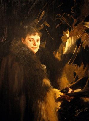 Både utomlands och i Sverige fanns stora pengar att hämta för skickliga porträttmålare som exempelvis Anders Zorn, här med en praktmålning föreställande fru Veronica Heiss (1891).Foto: Tomas Larsson