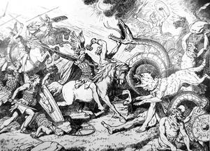 Världen går under i Ragnarök där gudarna slåss mot jättarna och alla andra vidunder. Illustration Johannes Gehrts.