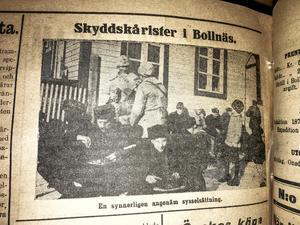 Frukost i vintersolen i Bollnäs 25:e februari 1918. Nystadskårens trupper utfordras på sin väg till Haparanda. Bild från Ljusnan publicerad en tid efter besöket.