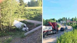 En skåpbil voltade i korsningen mellan Sidsjövägen och Tegelbruksgatan. Bild: Jenny Toresson