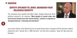 2014 hamnade Björn Söders uttalande om att judar inte är svenskar på sjätte plats i ansedda Simon Wiesenthal Centers lista  över världens värsta anti-semitiska utspel. Källa: wiesenthal.com