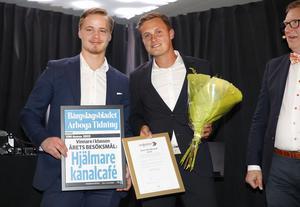 Årets besöksmål. Hjälmare kanalcafét. Melker Granell och Philip Gustavsson.