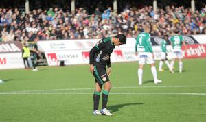 Dalkurdanfallaren Ahmed Awad har gjort många mål på Domnarvsvallen, men den här gången fick han lämna sin tidigare hemmaplan mållös.