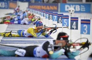 Fredrik Lindström i sitt sista mästerskapslopp i karriären, VM-stafetten i Östersund. Bild: Jessica Gow/TT