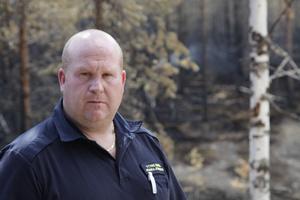 Pärra Jönsson, yttre befäl i Härjedalen. Här i brandområdet.