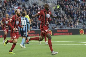 Ronald Mukiibi efter ett mål mot Djurgården förra hösten.