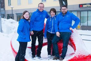 Foto: Anders GårdestigElin Åhman, Samuel Hedström, Lena Paajanen och Jonas Hillerström, Kristdemokraterna i Borlänge.