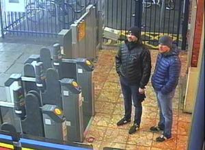 De utpekade GRU-operatörerna som misstänks för kemattacken i Storbritannien fångades av brittiska övervakningskameror.  Bild från CCTV som lämnats ut av Metropolitan Police och som distribuerats av AP.
