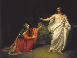 Den återuppståndne Jesus Kristus visar sig för Maria Magdalena. Målning av Alexander Andreyevich Ivanov  från 1835.