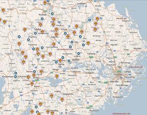 Trafikverkets karta över tjälskadade vägar i Mellansverige i mitten av april.