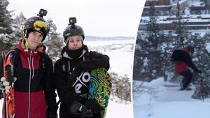 Björn Johansson, 17, och Olle Borg, 20 roade sig under söndagen med att åka skidor och snowboard nedför Norra berget.