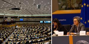 Europaparlamentet i Bryssel och Johan Danielsson under onsdagens möte för transport- och turismutskottet. Till vänster om honom sitter Karima Delli, nyvald ordförande för utskottet. Foto: Thomas Fahlander och Lars Hagberg.