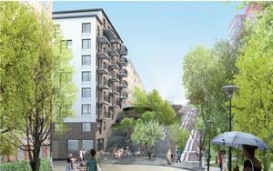 Exempel på byggnader i brant terräng och hur man kan göra det tillgängligt för människor att röra sig mellan olika nivåer genom trappor. Exempel från Rosenlundsparken i Stockholm. Foto: Södertälje kommun