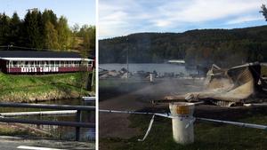Före och efter branden. Kävsta campings huvudbyggnad brann ner under natten mot den 24 september. Bilder: Mathias Lindqvist/arkiv och Kenneth Fahlberg