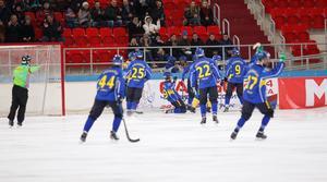 Kazakstan ruskade om Sverige rejält. Foto: Rikard Bäckman / Bandypuls.se / TT
