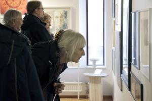 Elisabeth Elg är en besökarna på Försmaksutställning. Jättespännande tycker hon, och imponerad av att det finns så många kreativa konstnärer.