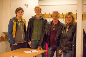 Familjen Andersson-Hjelm. Från vänster: Daniel Andersson, Pontus Hjelm, Mats Hjelm och Siw Andersson.