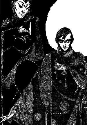 Mefisto (djävulen) och Faust. Illustration av Harry Clarke från 1925.