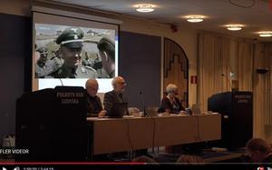 Skärmdump från Youtube.Inklippta sekvenser från en film med nazistsoldater kunde ses i NMR:s sändning från fullmäktige i Ludvika.