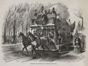 Gravyr av en hästdriven spårvagn i  Paris 1853.