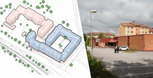 Planerna på sexvåningshus i kvarteret Jägmästaren fortsätter att engagera.  Illustration: Okidoki och Foto: Tomas Karlsson