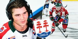 Oliwer Fjellström är ett av Timrå IK:s nyförvärv inför säsongen i Hockeyallsvenskan.  20-åringen blir utlånad från mästarlaget Frölunda. Bilder: Mathias Bergeld och Michael Erichsen/Bildbyrån