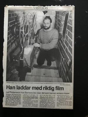 Reportage i VLT om Folkets Bio Västerås barnfilmsverksamhet med Leif Pettersson.