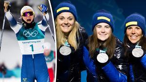 Stina Nilsson, Ebba Andersson och Charlotte Kalla ska tas emot på Midlanda efter OS. Foto: Carl Sandin (Bildbyrån).