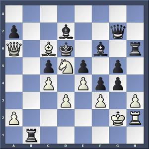 Lösning: 1.Lb5+ Lc6 2.Dxc6.