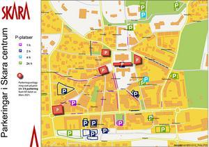 Parkeringskarta med de nya tiderna i Skara centrum. Foto: Skara kommun.