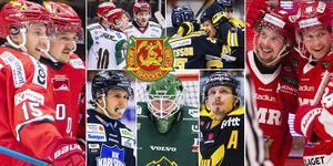 Några av Hockeyallsvenskans bästa spelare denna säsong. Många är till och med placerade topp tio. Foto: Bildbyrån.